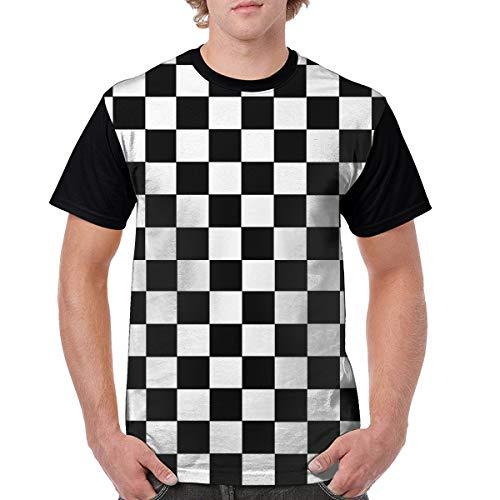 enrgbnhzad 321 Mens Casual Graphics Black & White Racing Checkered Flag 3D Printed T-Shirts Short Sleeve Tops Tees