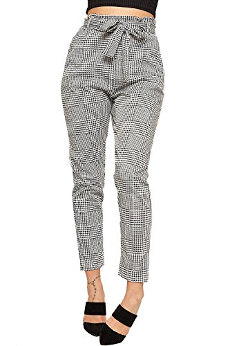 WearAll Women's Paperbag Tartan Checked Print Pocket Stretch Pants Belted Trousers - Black White - US 8 (UK 12) (Pants Plaid White)