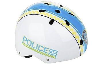 Niños azules y blancas Policía ciclismo casco 48 de 54 cm