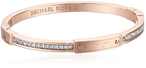 Michael Kors Rose Gold Tone Pave Hinge Bangle Bracelet