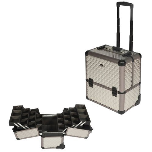 (16 inch Diamond Pattern Texture 8 Easy-slide Extending Trays Aluminum Professional Makeup Artist Rolling Makeup Cosmetic Train Case Wheeled Organizer )