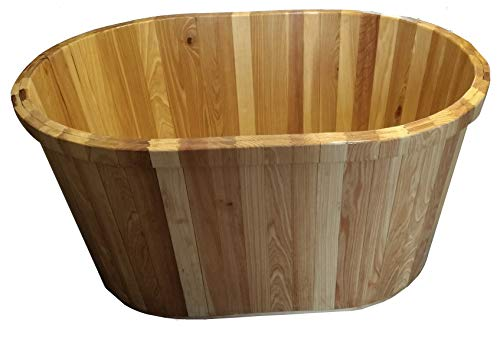 (Wood Bathtub - Freestanding - Ofuro - Cypress – Relaxing - Renewable and Eco-Friendly – Invisible Fiberglass Coating – No special care – Passes Building Inspections – Made in USA (47