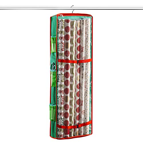 (ZOBER Christmas Hanging Gift Wrap Organizer Stores Up to 20 Rolls, 360 Degree Rotating Hook, with Side Mesh Pockets for Xmas Gift Wrapping Accessories - 40 Inch Long, Non-Woven Wrapping)