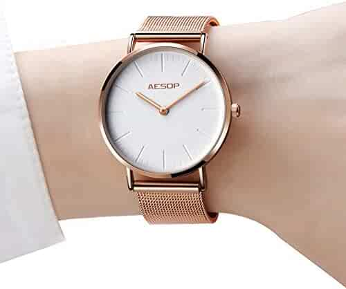 Womens Watches Thin Wrists, Rose Gold Female Watch, Quartz Wrist Watches for Women with White Dial, Ultra Thin Waterproof Simple Watches, Ladies Watches on Clearance, Mesh Band Watches Women