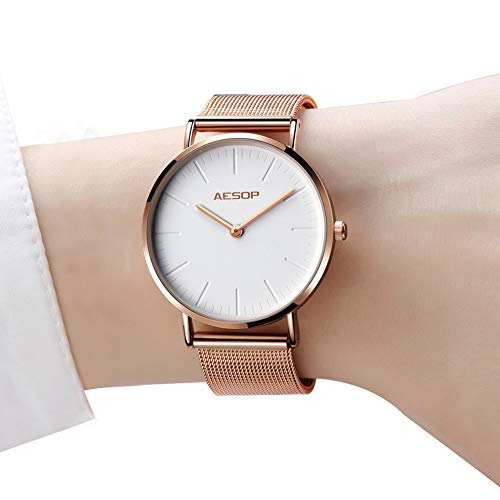 Womens Watches Thin Brand Quartz Wristwatches for Women Waterproof Watch Analog Minimalist Watch Mesh Strap Slim Watches White Dial,Rose Gold Milanese Band Wrist watches Simple