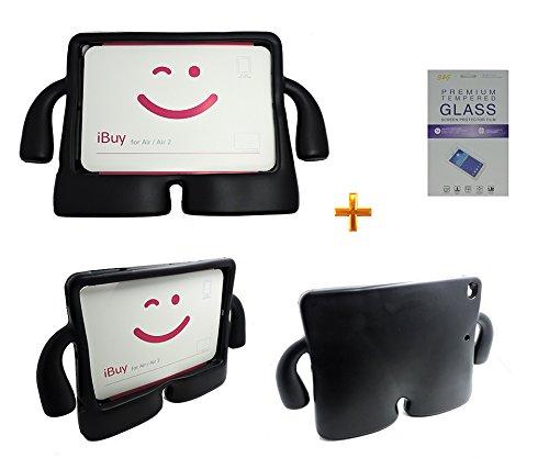 Kit Capa Case Protetor Infantil Anti-Choque/Impacto iPad Air 1/2 (iPad 5/6) + Película de Vidro (Preto)