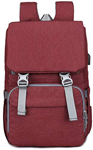 Baby Diaper Bag Backpack with USB Port, Waterproof Linings, Insulated Bottle Pockets, Stroller Straps and Wide-Open Design, Unisex and Durable Maternity Nursing Bag for Baby Care Wine Red