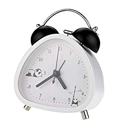 """PILIFE 3"""" Small Twin Bell Alarm Clock,Cute Triangle Panda Shape with Backlight and Loud Alarm to Wake You Up,Silent Working Perfect for Bedroom and Work(White)"""