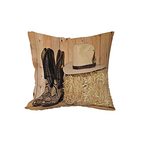 Throw Pillow Cushion,Western Decor,Snake Skin Cowboy Boots Timber Planks in Barn with Hay Old West Austin Texas,Cream Brown,17.7x17.7Inches,for Sofa Bedroom Car Decorate