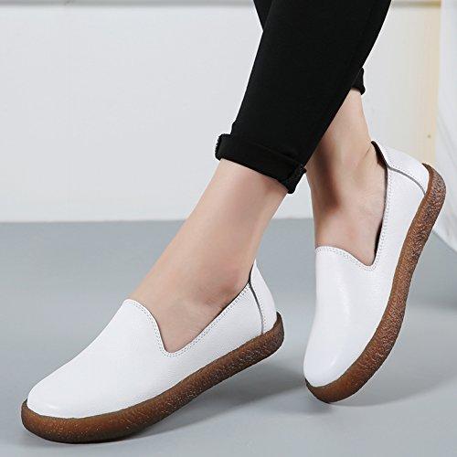 Stq Donna Slip On Mocassini In Pelle Comfort Low Top Flats Fashion Mocassini Platform Shoes Bianchi