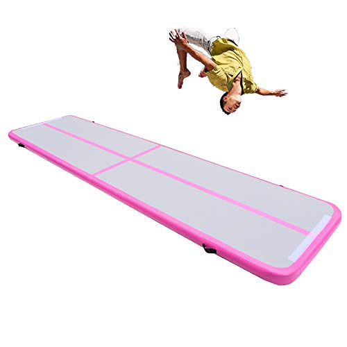 Fitnessandfun 20ft Inflatable Gymnastics Air Track Tumbling Mat Airtrack Mats for Home Use/Training/Cheerleading/Yoga/Water with Pump