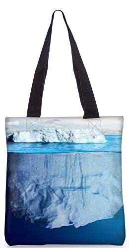 """Snoogg Blaue Meer Mit Weißen Berg Tragetasche 13,5 X 15 In """"Einkaufstasche Dienstprogramm Trage Aus Polyester Leinwand"""