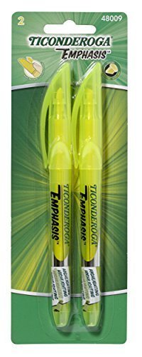 Ticonderoga Emphasis Fluorescent Highlighters, Pocket Style with Clip, Chisel Tip, Yellow (48009) (2-Pack of 2) Dixon Fluorescent Highlighter