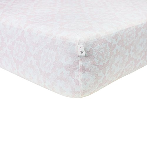 Burts-Bees-Baby-Paisley-Bee-Fitted-Crib-Sheet-100-Organic-Crib-Sheet-for-Standard-Crib-and-Toddler-Mattresses-Blossom