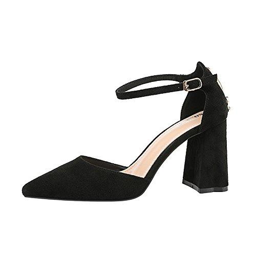 y Negro boda sandalias zapatos Xue rojo correa de nupcial tacón la versátil alto ranurada punta de con Qiqi gruesas los de zapatos IqBawqrR1