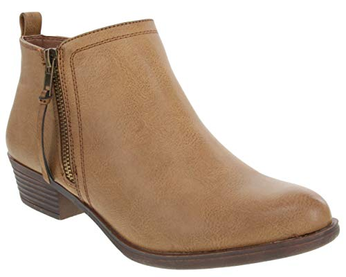 Rampage Women's Tarragon Ankle Bootie Brown Smooth 8.5
