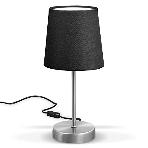 B.K.Licht LED tafellamp I stoffen lamp zwart I mat nikkel I E14 I tafellamp I bedlampje met schakelaar I IP20