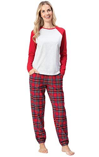 Addison Meadow Women Pajamas Set - Flannel PJs for Women, Stewart Plaid, Red