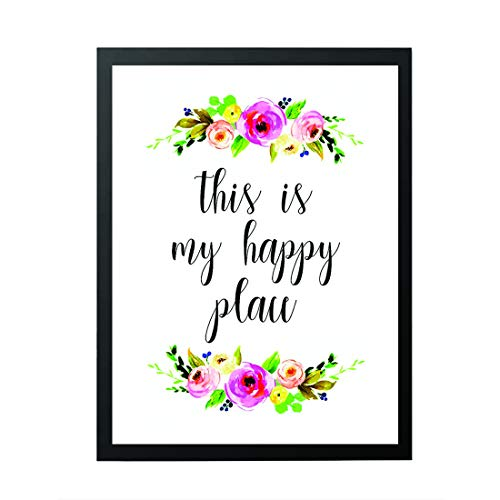 Room Decor - This Is My Happy Place - welcome sign - Home Decor - wall art Watercolor Floral - Housewarming Print - Happy Quotes - Inspirational Quote - Work Motivational Quotes.