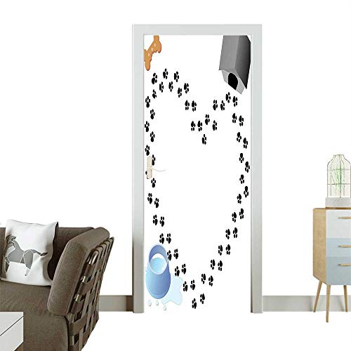 3D Photo Door Murals Puppy Love He Shaped Trail Prints B Dog House Kennel Water Drops Easy to Clean and applyW38.5 x H79 - Nyc Calendar Print