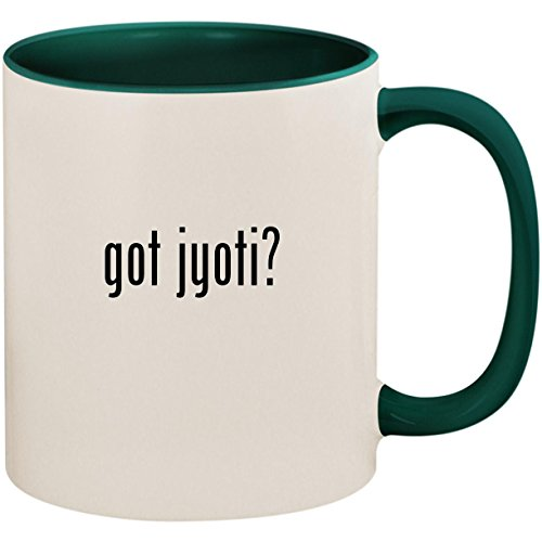 (got jyoti? - 11oz Ceramic Colored Inside and Handle Coffee Mug Cup, Green)