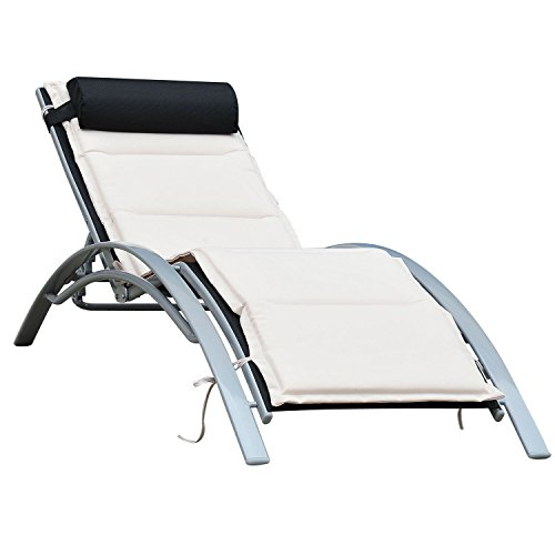 Outsunny Aluminum Outdoor Patio Reclining Adjustable Chaise Lounge Chair with Cushion
