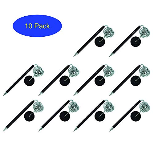 Secure Counter Pen With Adhesive Base & Metal Chain - Black Ink - Medium Point (10 Pack) by Precision Works (Image #4)