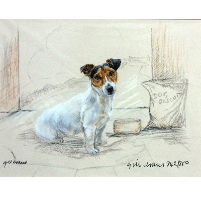 Terrier with Biscuits By: Gill Evans, Matted - 12 3/4