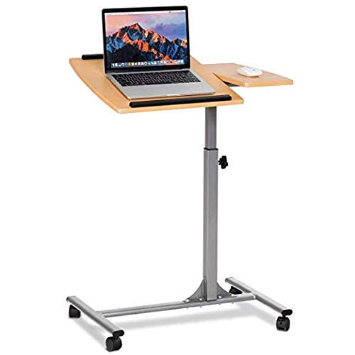 Tangkula Laptop Desk Overbed Table, Mobile Desk Cart, Angle & Height Adjustable Laptop Stand Cart, Computer Desk with Smooth & Lockable Casters, Mobile Lap Workstation Notebook Cart (Natural) ()