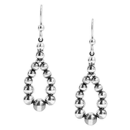 American West Sterling Silver Native Pearl Beaded Hoop Dangle Earrings