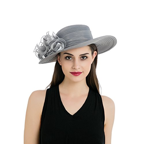 Dantiya Womens Organza Wide Brim Floral Feather Ribbon Kentucky Derby Church Dress Sun Hat, Grey Free