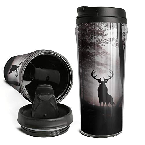 Thano Elk in the Dark Forest Tumbler Travel Mug Funny Insulated Tumbler with Lid Personalized Plastic Tumblers 16 Oz Clear Tumbler Double Wall Water Tumbler Cute Water Bottle