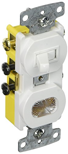 Hubbell Wiring Systems RC309W tradeSELECT Three Way Combination Toggle Switch with Pilot Light Clear Lens Amber Neon Bulb, 15A, 120V AC, White