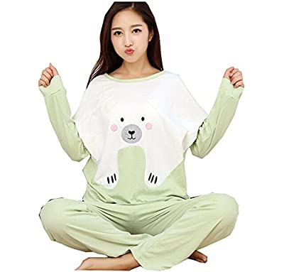 Forlisea Womens Cute Cartoon 2 Pieces long Sleeve Pajamas Set Homewear Sets