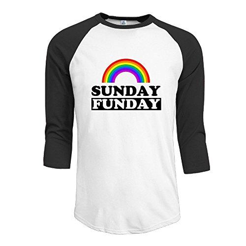 Fashion Men's Sunday Funday Rainbow Shirt Black Size S