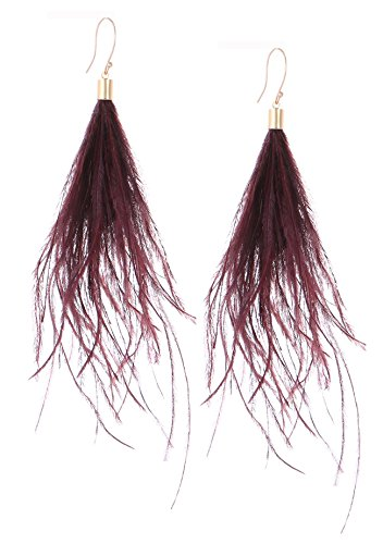 Women Long Dangle Earring Feather Elegant Thread Feather Jewelry for Gift Winter Party Bohemian