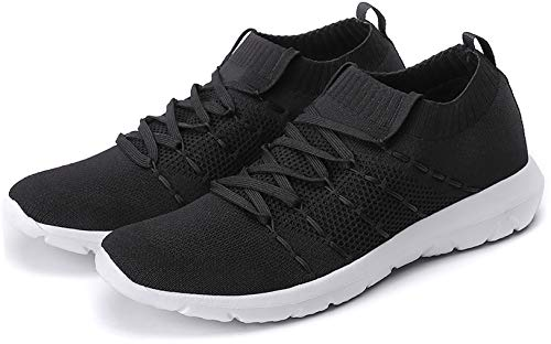 PresaNew Women's Walking Shoes Slip On Athletic Running Sneakers Knit Mesh Comfortable Work Shoe 10 US Black
