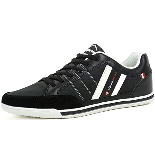 Alpine+Swiss+Mens+Stefan+Black+Suede+Trim+Retro+Fashion+Sneakers+10+M+US