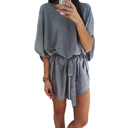 Tomayth D't Femme avec Ceinture Robes en tricot Mini Robe Manches Chauve-Souris Cou Ronde Casual Loose Tops Blouse T Shirt Gris