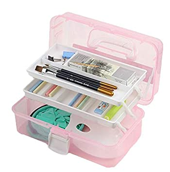 Auch 1 Pack 12-inch Plastic Art Supply Craft Storage Container Tool Box Plastic with Two Trays (Pink)