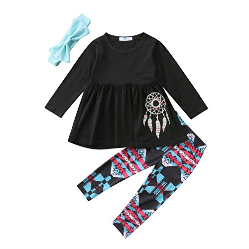 BiggerStore 3Pcs/Set Kids Toddler Baby Girl Dream Catcher Long Sleeve Top Dress Pants with Headband Outfit (Black+Light blue, 2-3 Years)