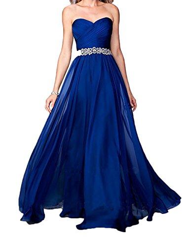 Lang Abendkleider Festliche Chiffon Ballkleider Steine Kleider Royal Jugendweihe Blau mit Kleider Damen Charmant Rosa wYZqXIC