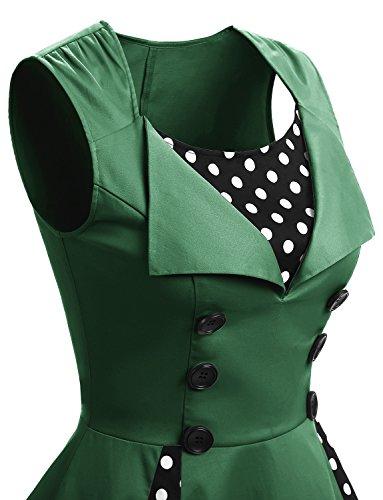 Retro Mangas Cóctel Cortas Corto Pin Gardenwed Vintage Up Green con Vestidos Dot En Fiesta Escote Pico twqFRgvxRn