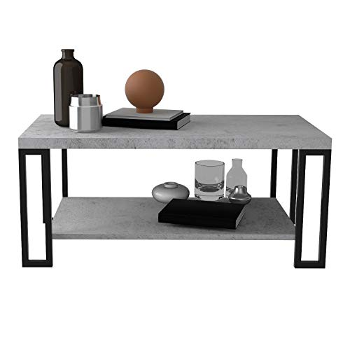 Giantex Accent Modern Coffee Tea Table Living Room Tables Faux Marble Top Metal Frame Cocktail Table (39.5''L x20''W x18''H w/Storage Shelf, Cement Color) (Table Cement End Top)