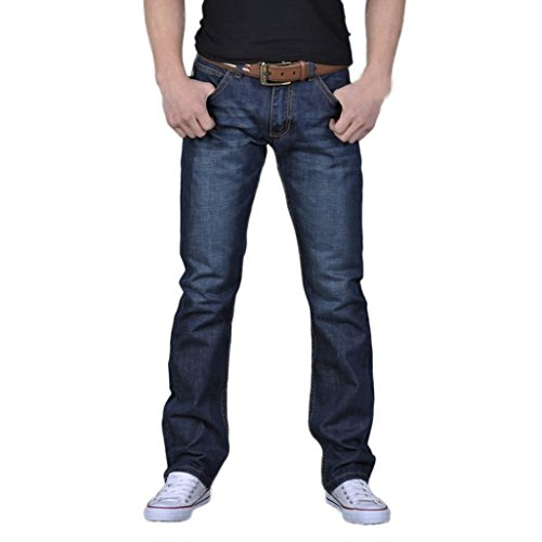 NEARTIME ❤️Men Casual Jeans, Men's Autumn Daily Mid Waist Denim Pants Hip Hop Loose Work Long Trousers