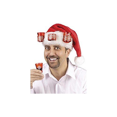 santa hat with shot glasses