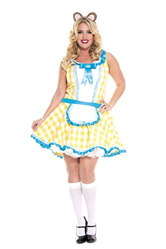 Sexy Goldilocks Costumes (Music Legs Women's Plus-Size Glistening Goldilocks, Yellow/White/Blue, 1X-2X)