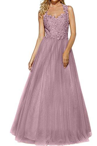 Perlen Promkleider Tuell Brautmutterkleider Spitze Abendkleider Glamour mia Abschlussballkleider Ballkleider Rock Rosa Brau Prinzess La AT46w