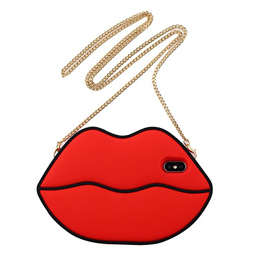 iPhone X Case Red Lips with Crossbody Metal Chain Miniko(TM) Cute 3D Sexy Red Lips Silicone Cartoon Funny Gel Lovely Stylish Design Phone Case for iPhone X Teen Girls Women