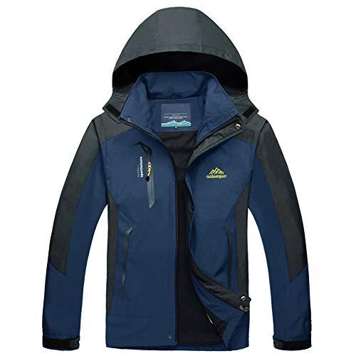 MAGCOMSEN Mens Windbreaker Jacket with Hood Running Jacket Men Waterproof Jackets Cycling Jacket Sportswear for Men Denim Blue